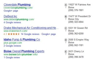 Image of Example of 7-Pack Business Listings in Google Search Results