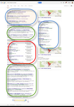 Google Search Results Page - Blue: Paid Advertising, Green: Organic (Natural) Listings, Red: Google 7-pk Business Listings